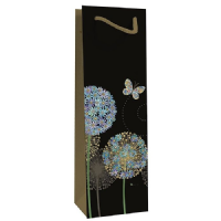 Blue Alliums Bottle Gift Bags, Gold Foil Art Embossed, Pack of 3